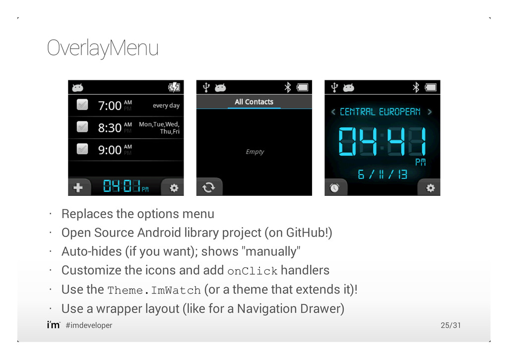OverlayMenu #imdeveloper Replaces the options m...