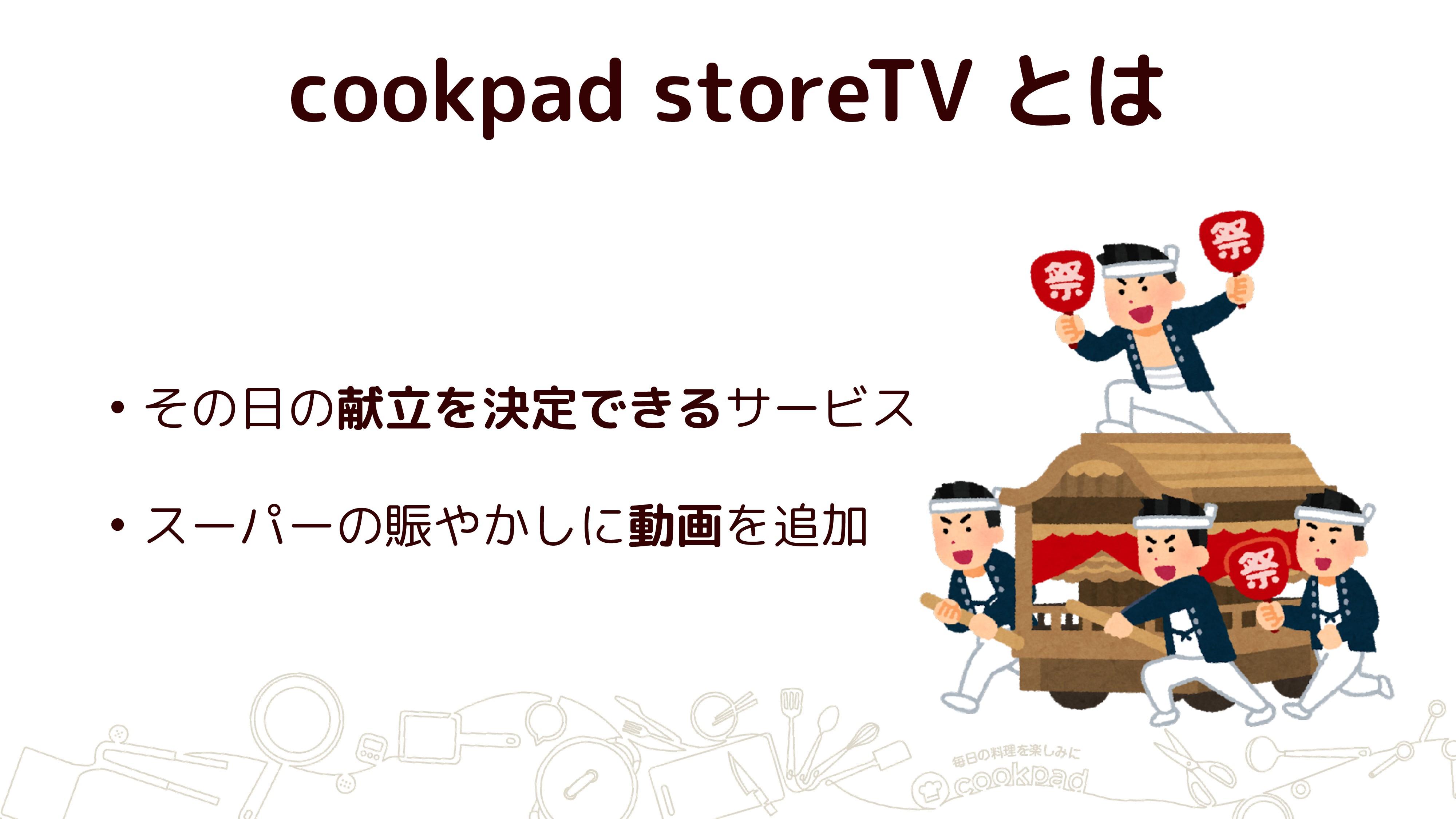 cookpad storeTV とは • その日の献立を決定できるサービス • スーパーの賑や...