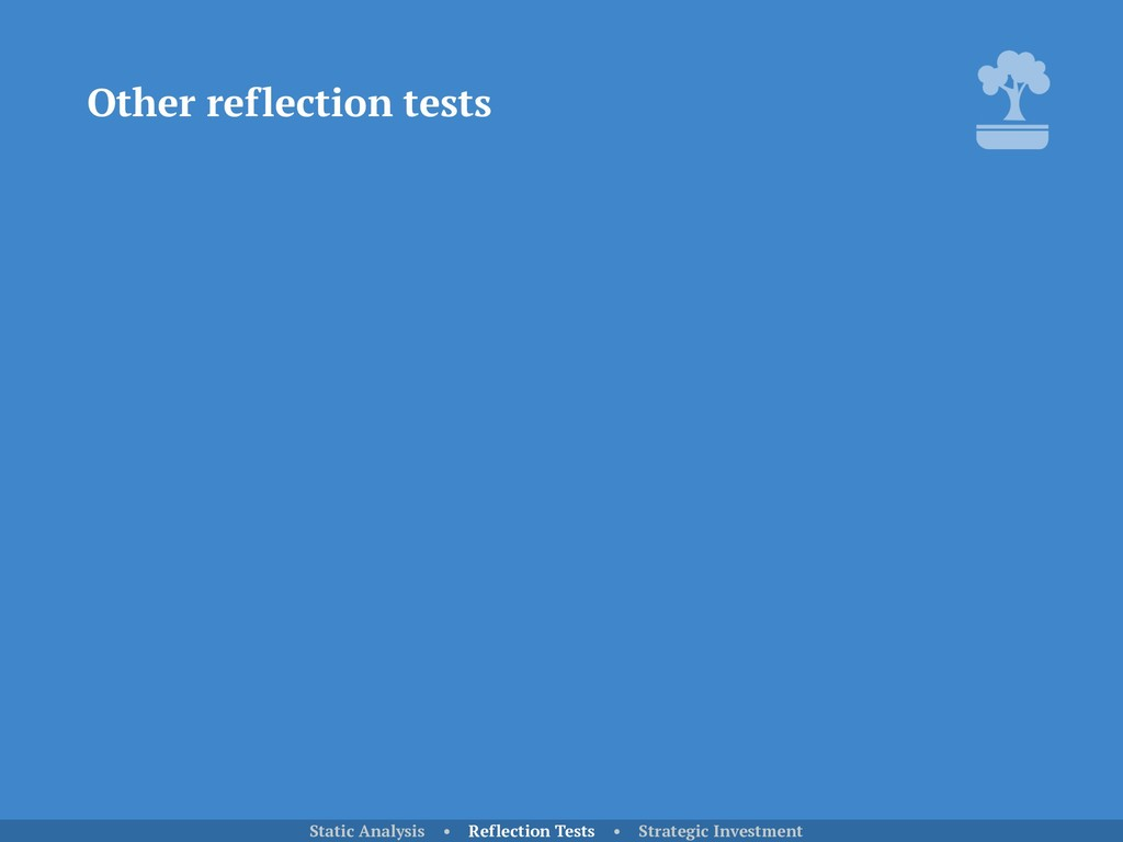 Other reflection tests Static Analysis • Reflec...