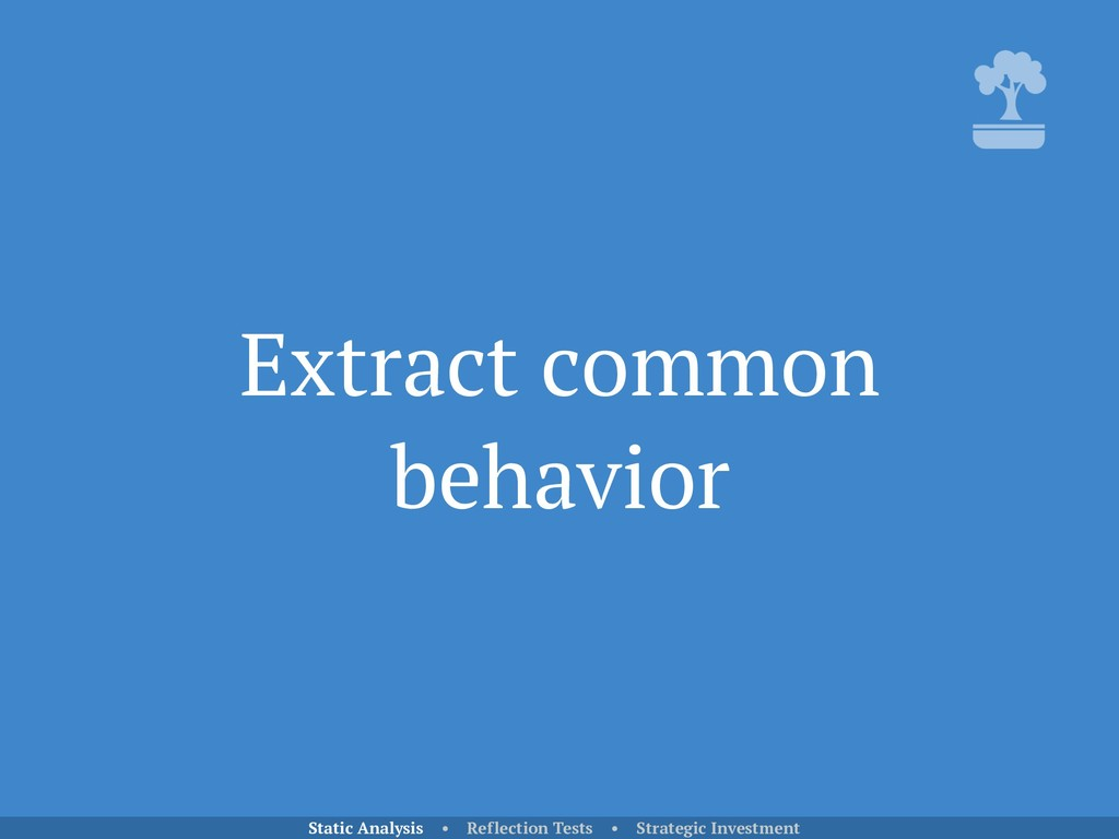 Extract common behavior Static Analysis • Refle...