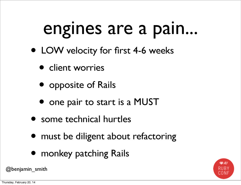 engines are a pain... • LOW velocity for first 4...