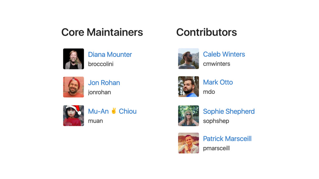 Core Maintainers Contributors