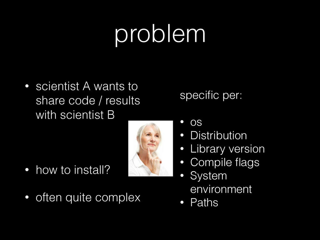 problem • scientist A wants to share code / res...