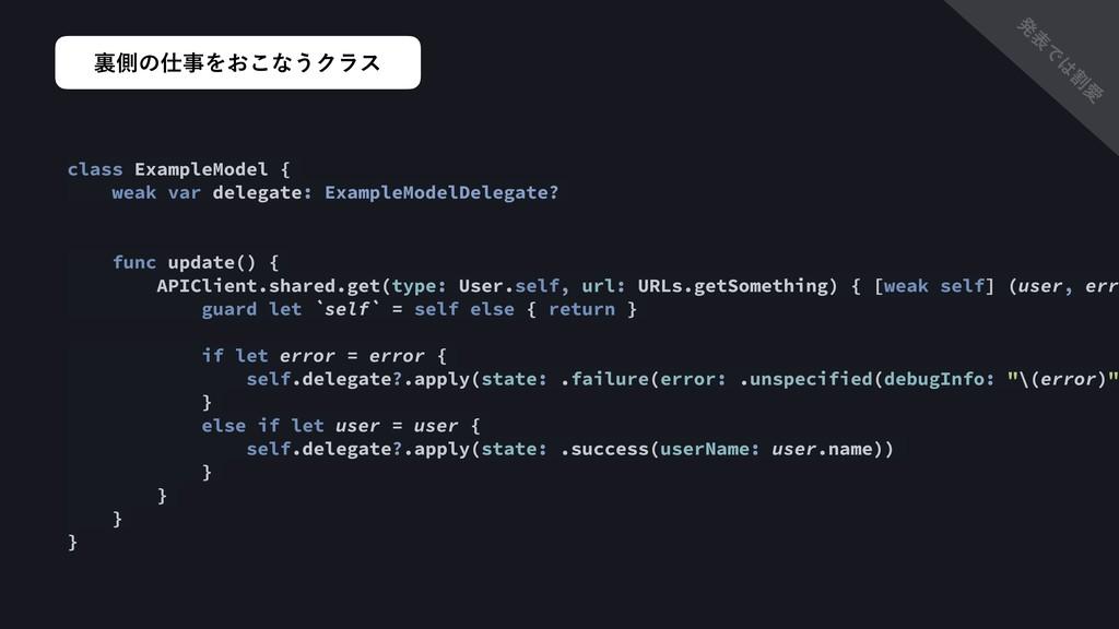 ཪଆͷΛ͓͜ͳ͏Ϋϥε class ExampleModel { weak var del...