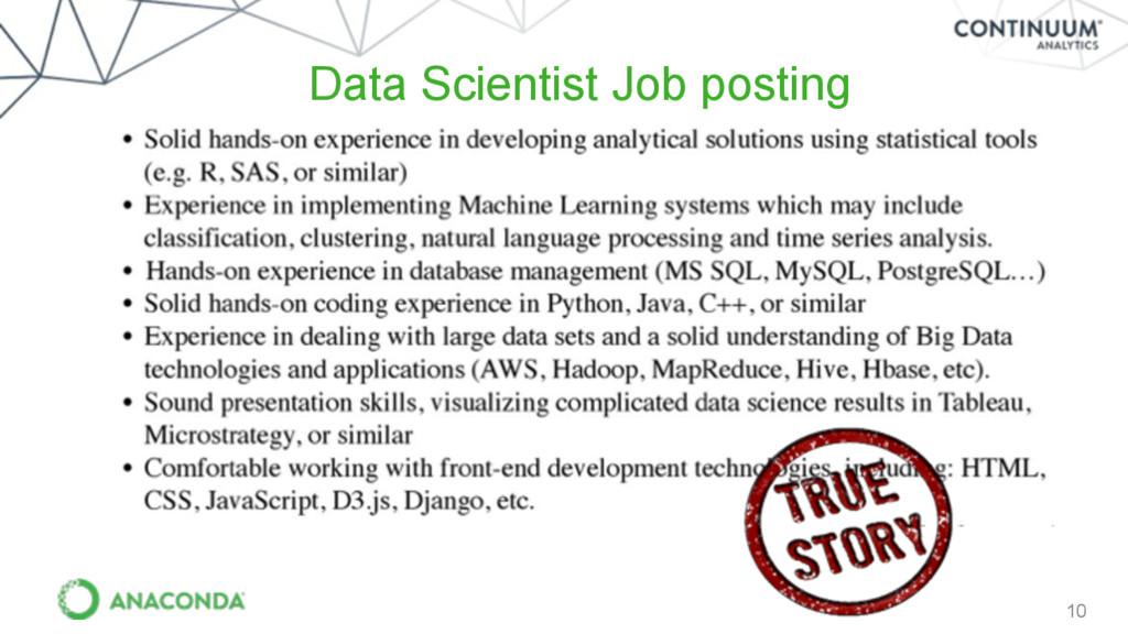 10 Data Scientist Job posting