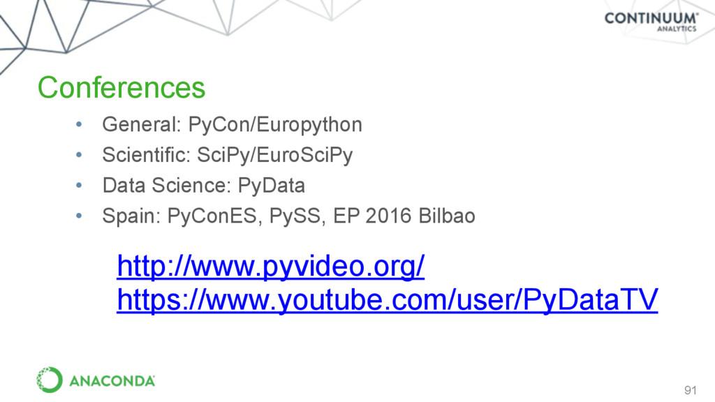 Conferences 91 • General: PyCon/Europython • Sc...