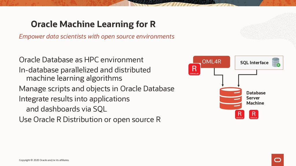 Oracle Machine Learning for R Oracle Database a...