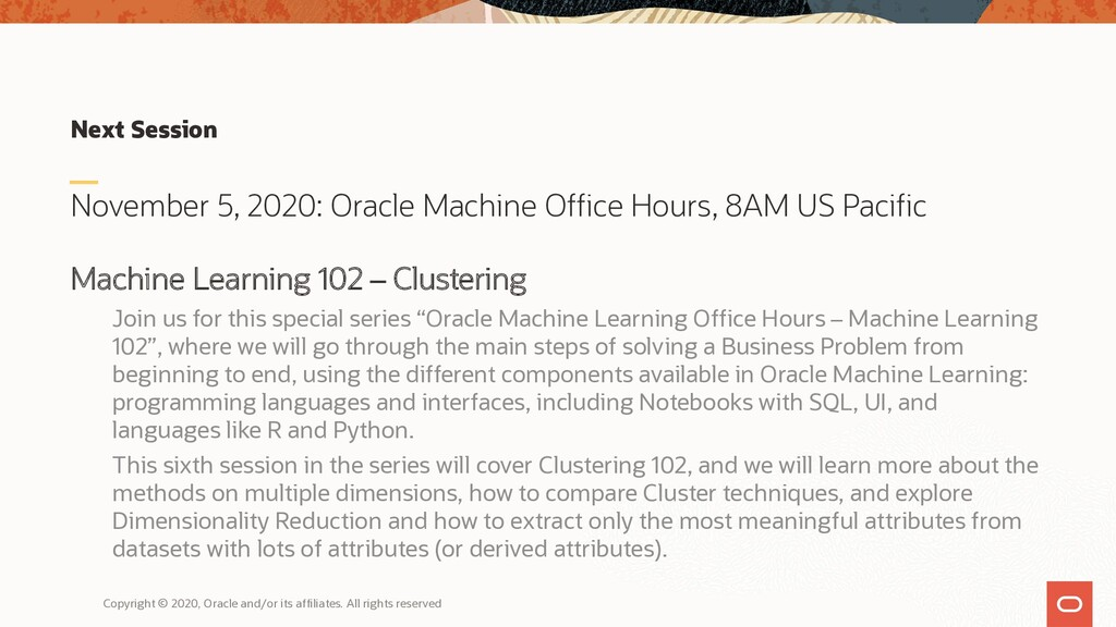 Next Session November 5, 2020: Oracle Machine O...