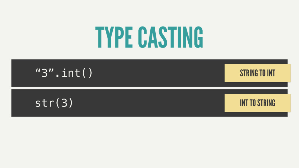 """""""3"""".int() TYPE CASTING str(3) STRING TO INT INT..."""