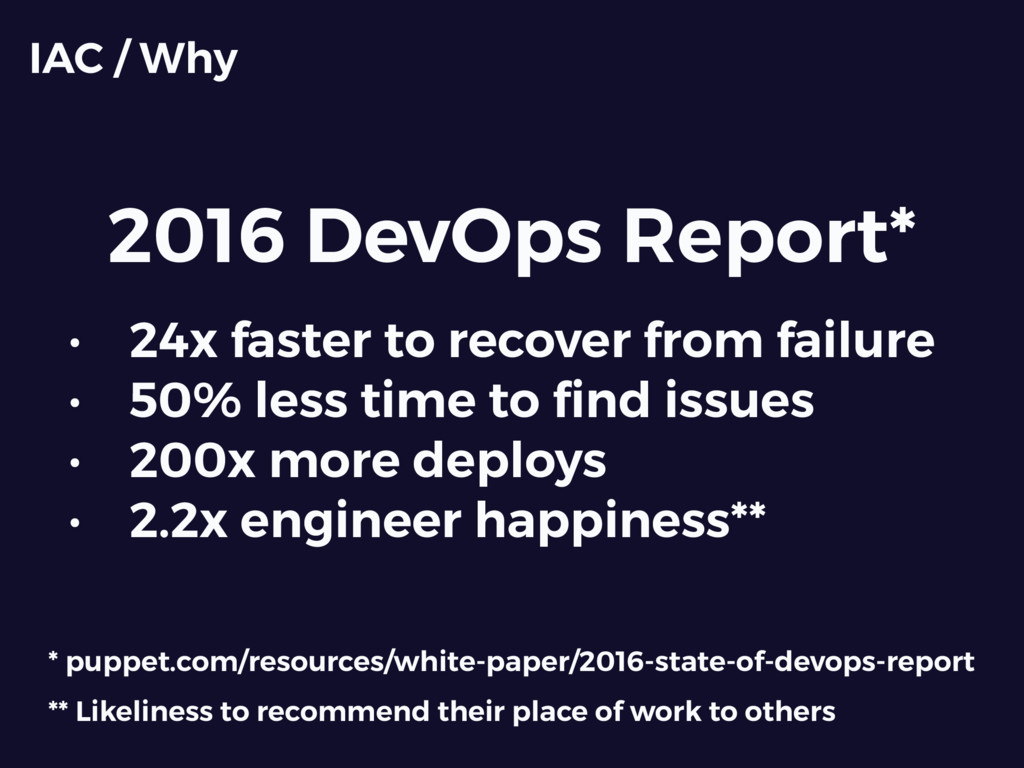 2016 DevOps Report* IAC / Why • 24x faster to r...