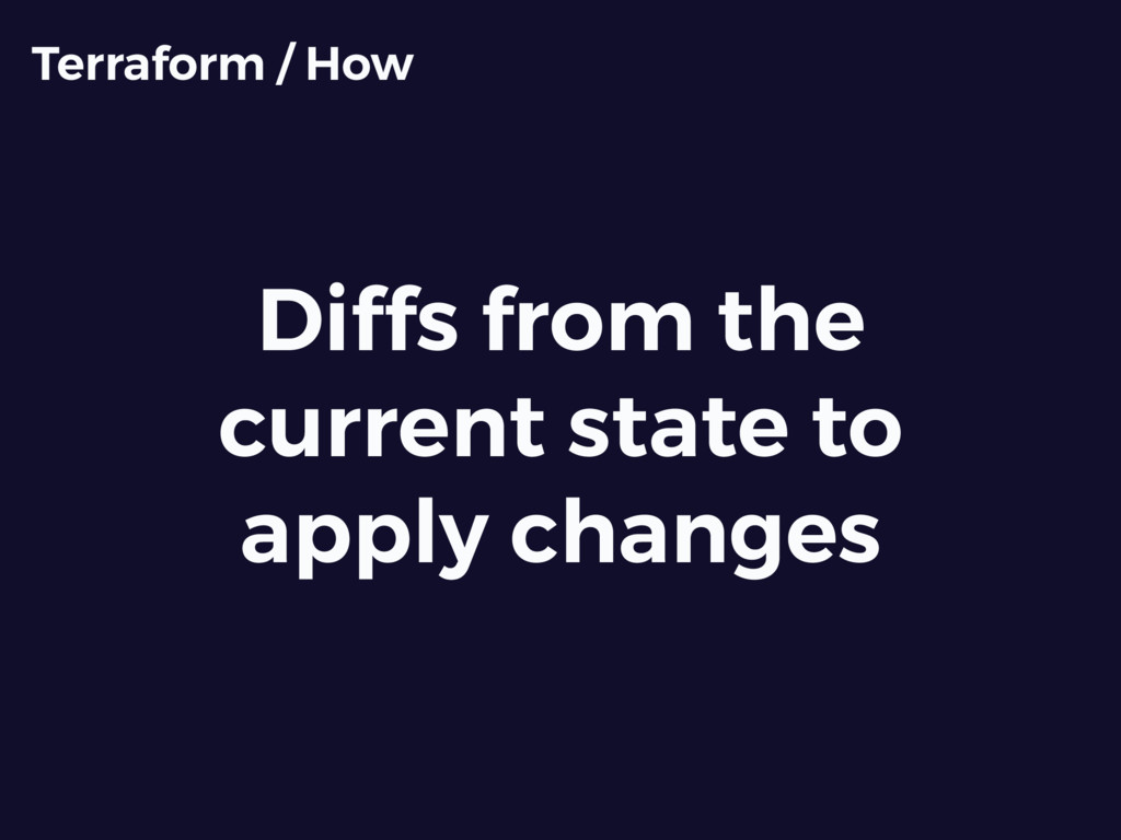 Diffs from the current state to apply changes T...