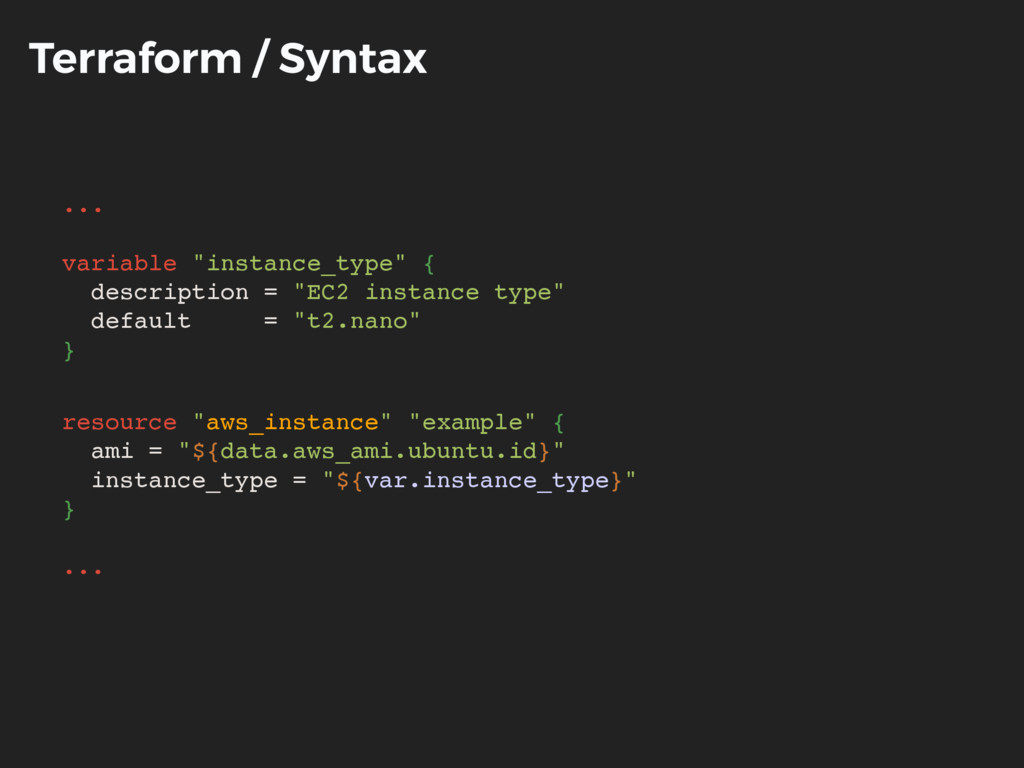 "Terraform / Syntax ... variable ""instance_type""..."