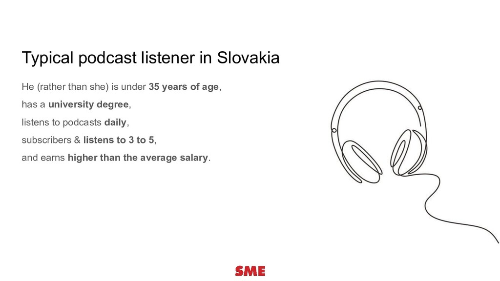 Typical podcast listener in Slovakia He (rather...