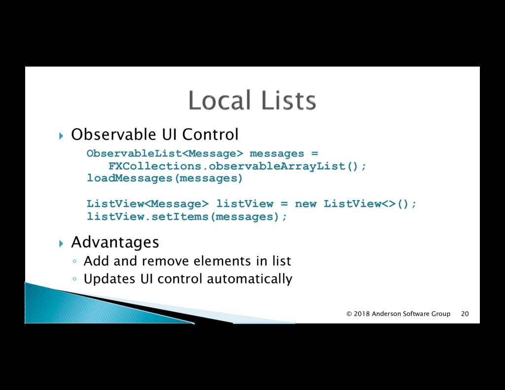 ! Observable UI Control ObservableList<Message...
