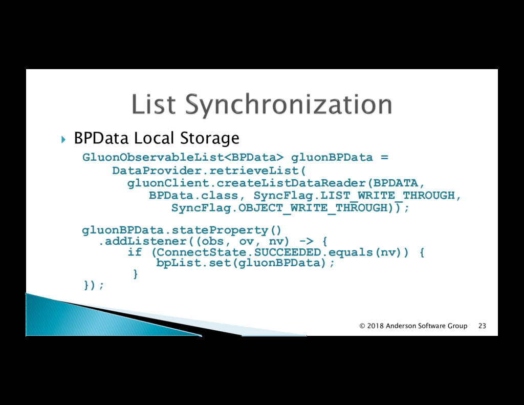 !  BPData Local Storage GluonObservableList<BPD...