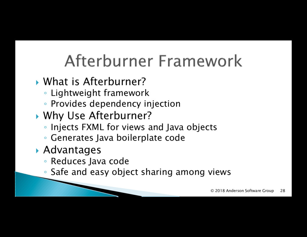 !  What is Afterburner? ◦  Lightweight framewor...