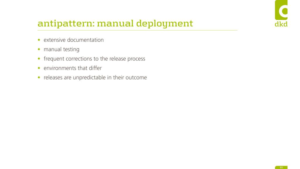 antipattern: manual deployment • extensive docu...