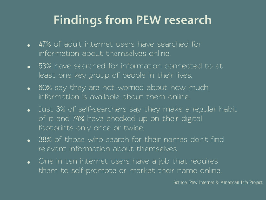 • 47% of adult internet users have searched for...