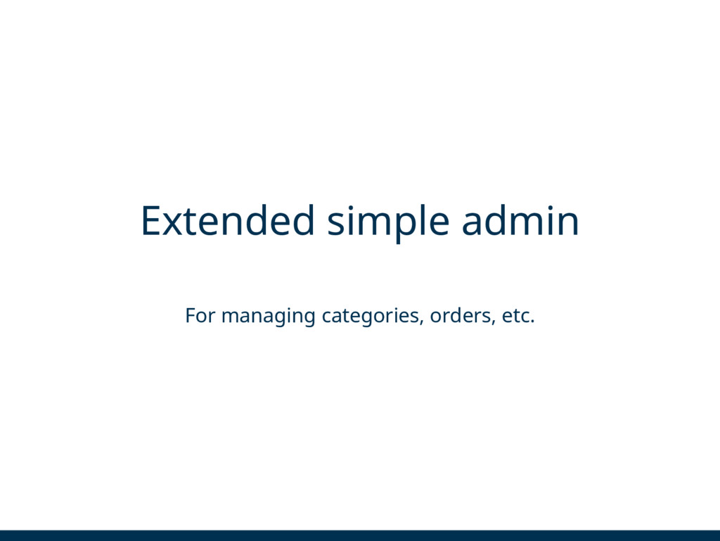 Extended simple admin For managing categories, ...