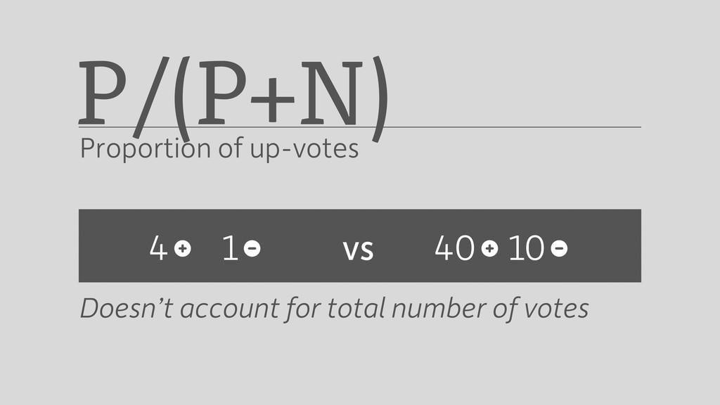 Doesn't account for total number of votes 4 P/(...