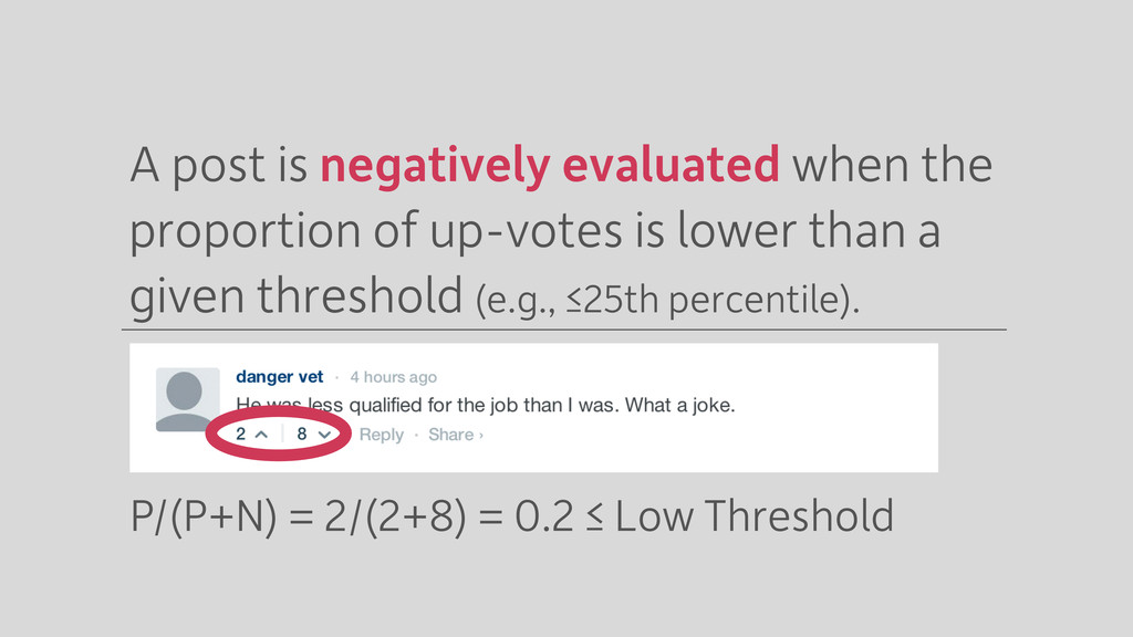 A post is negatively evaluated when the proport...
