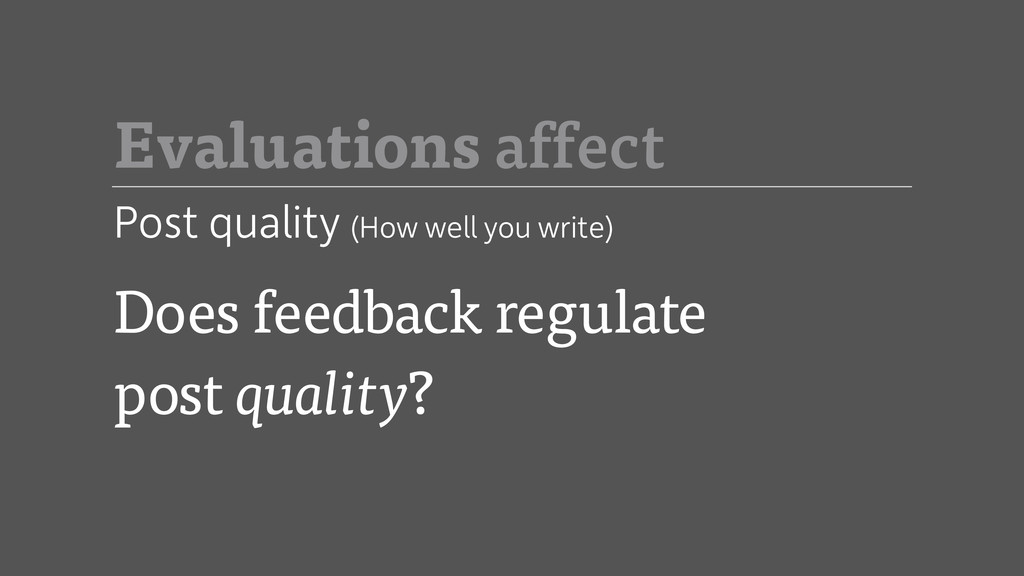 Does feedback regulate post quality? Evaluation...