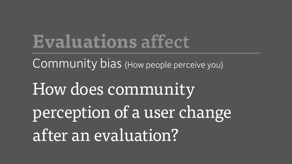 How does community perception of a user change ...