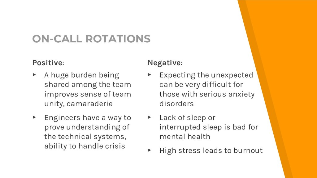 ON-CALL ROTATIONS Negative: ▸ Expecting the une...