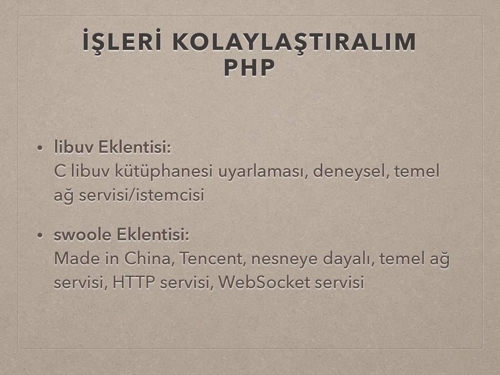 İŞLERİ KOLAYLAŞTIRALIM PHP • libuv Eklentisi: ...