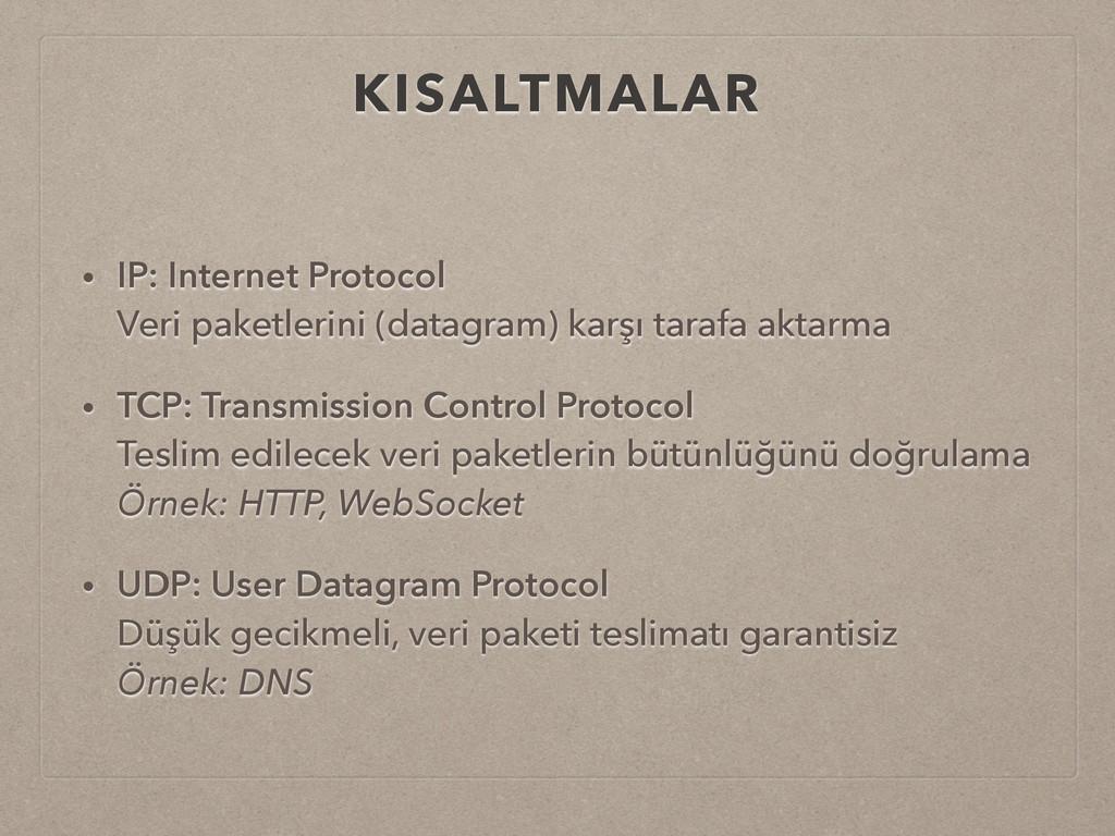KISALTMALAR • IP: Internet Protocol Veri paket...