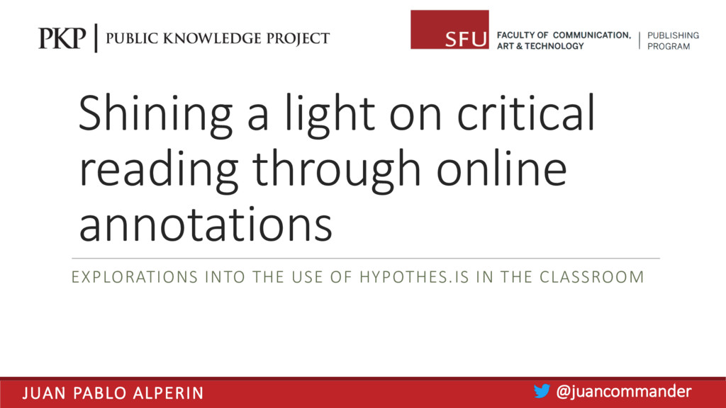 Shining a light on critical reading through onl...