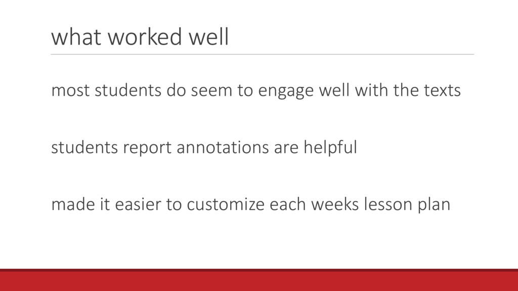 what worked well most students do seem to engag...