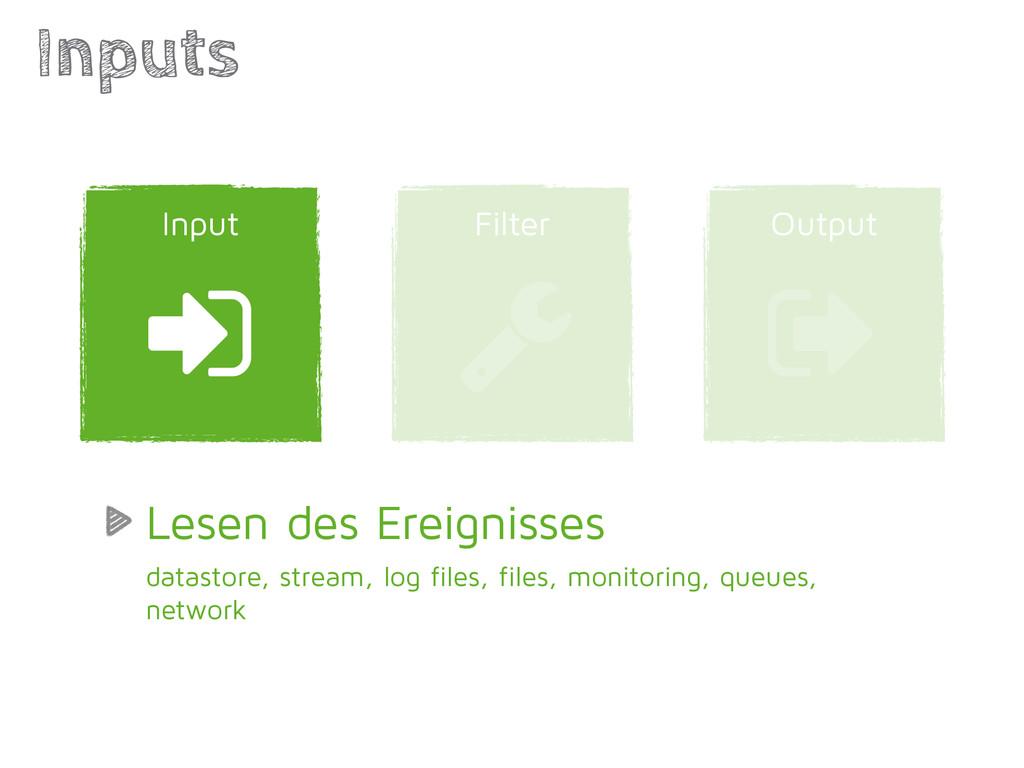 Output Filter Inputs ) Input * + Lesen des Erei...