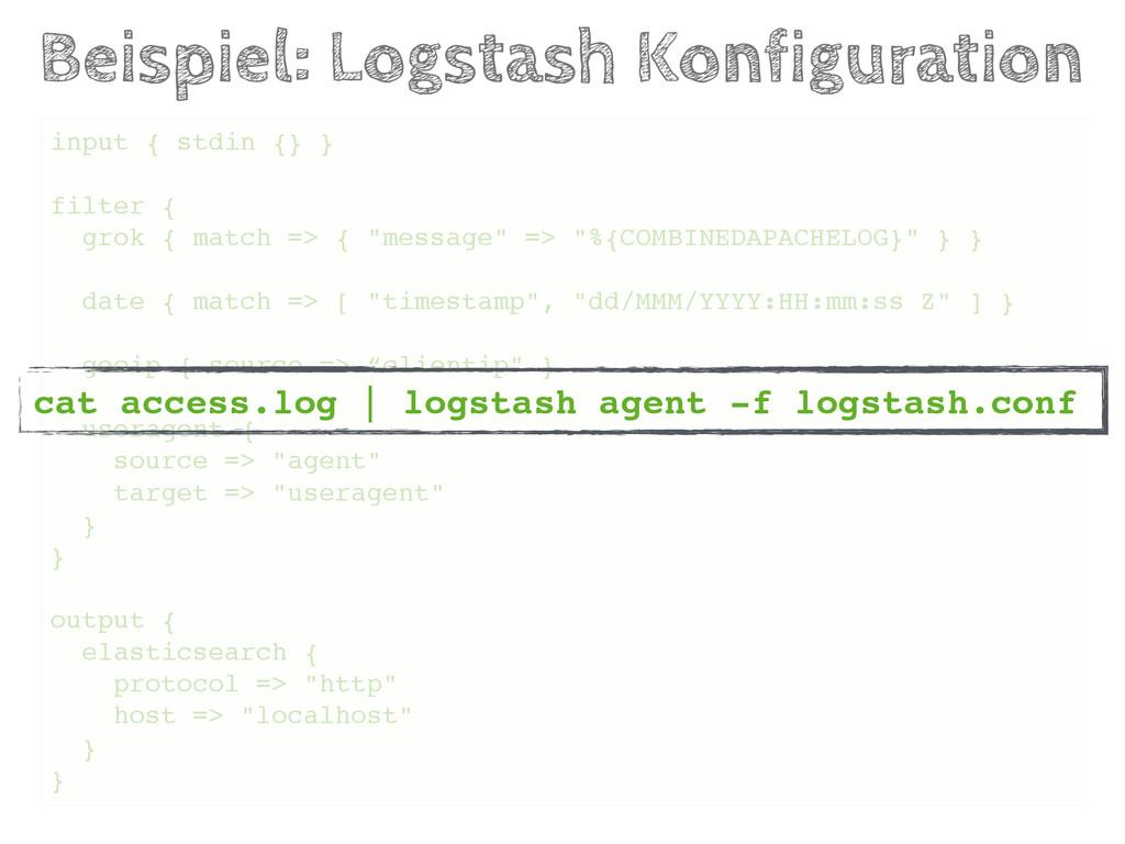 Beispiel: Logstash Konfiguration input { stdin ...