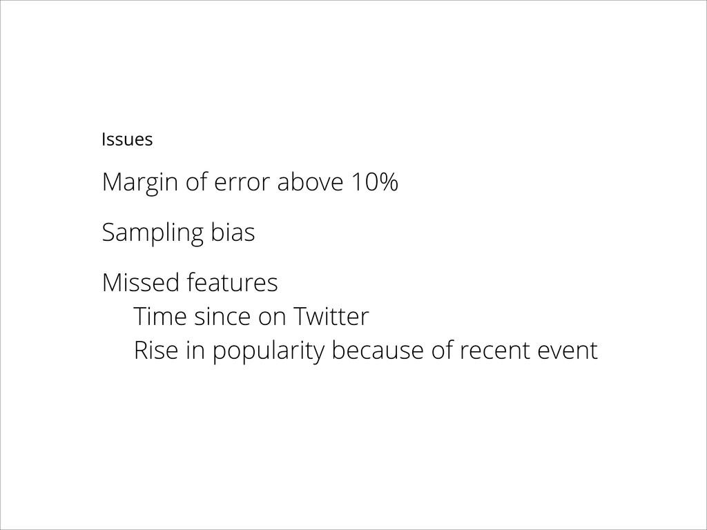 Margin of error above 10% ! Sampling bias ! Mis...