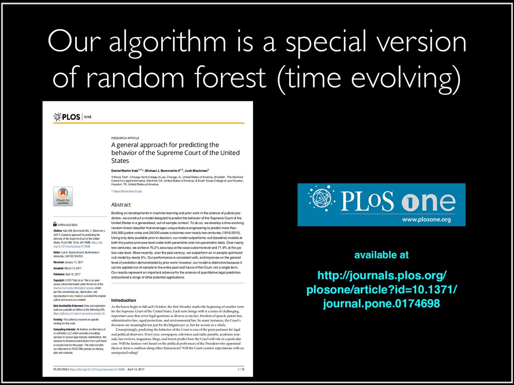 Our algorithm is a special version of random fo...