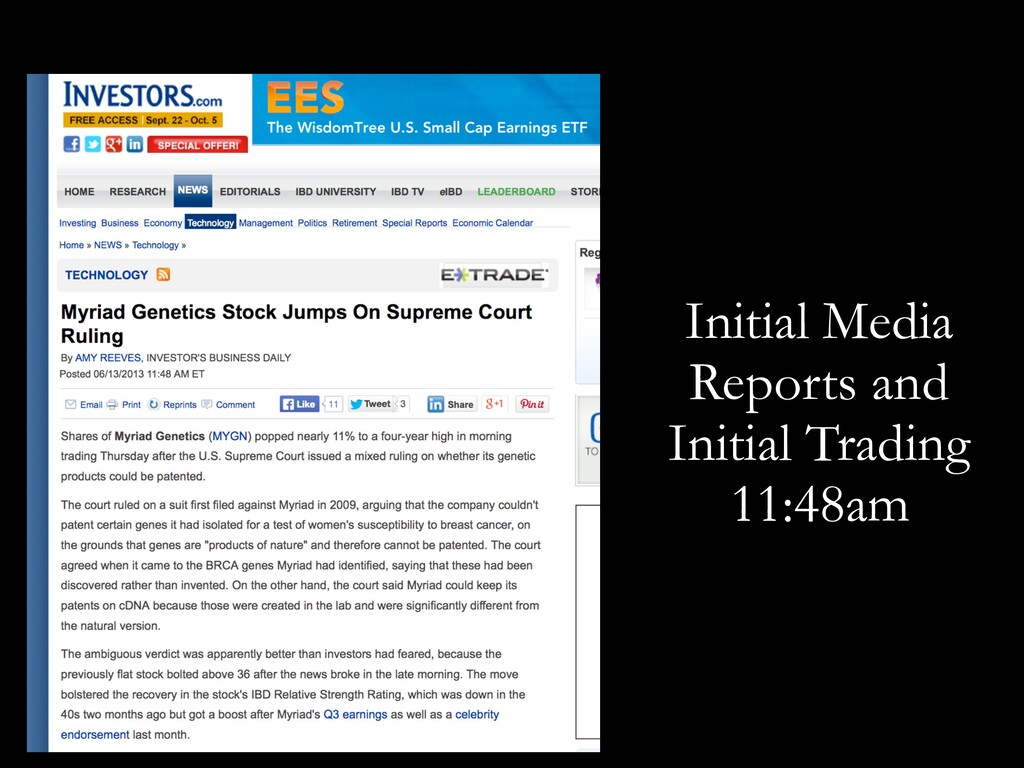Initial Media Reports and Initial Trading 11:48...