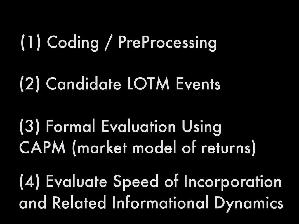 (1) Coding / PreProcessing (2) Candidate LOTM E...