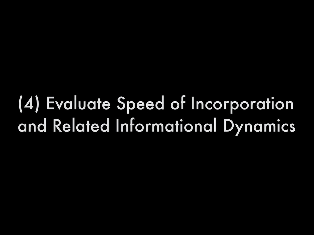 (4) Evaluate Speed of Incorporation and Related...