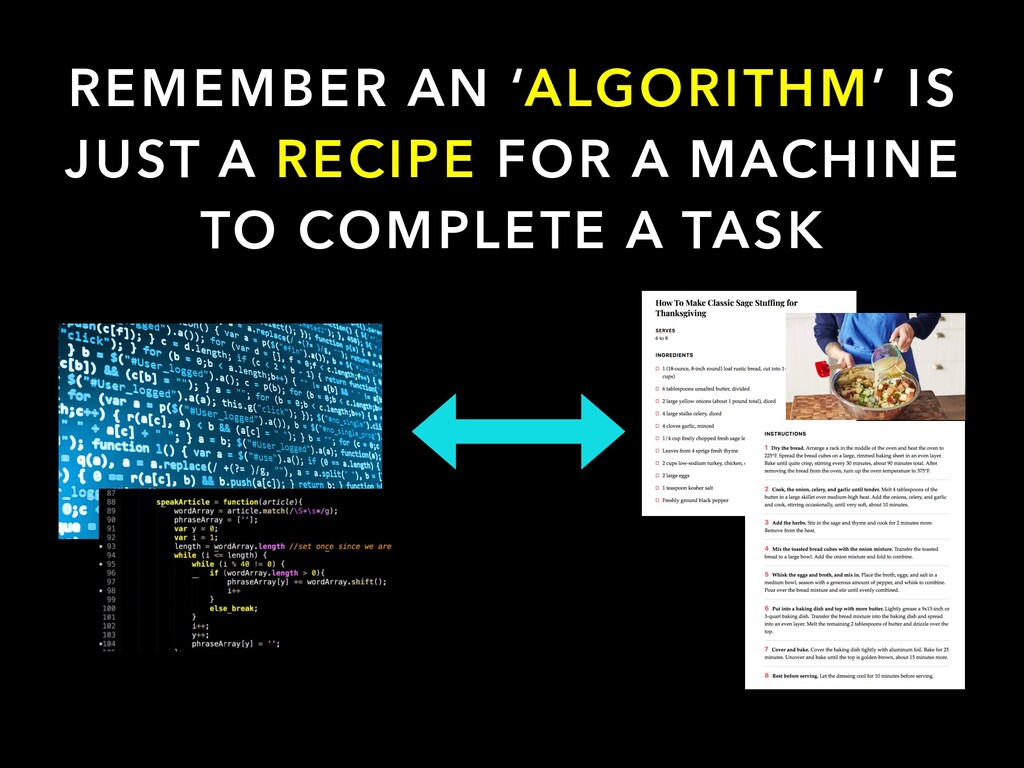 REMEMBER AN 'ALGORITHM' IS JUST A RECIPE FOR A ...