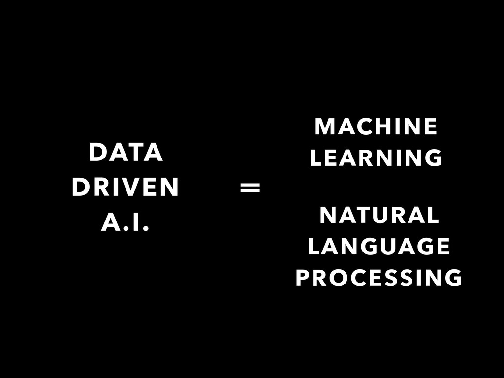 DATA DRIVEN A.I. = MACHINE LEARNING NATURAL LAN...