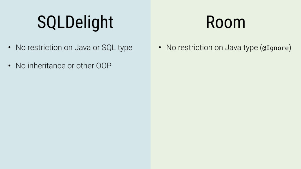 SQLDelight Room • No restriction on Java or SQL...