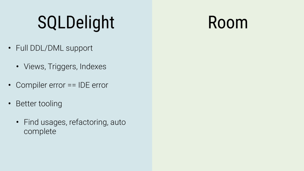SQLDelight Room • Full DDL/DML support • Views,...
