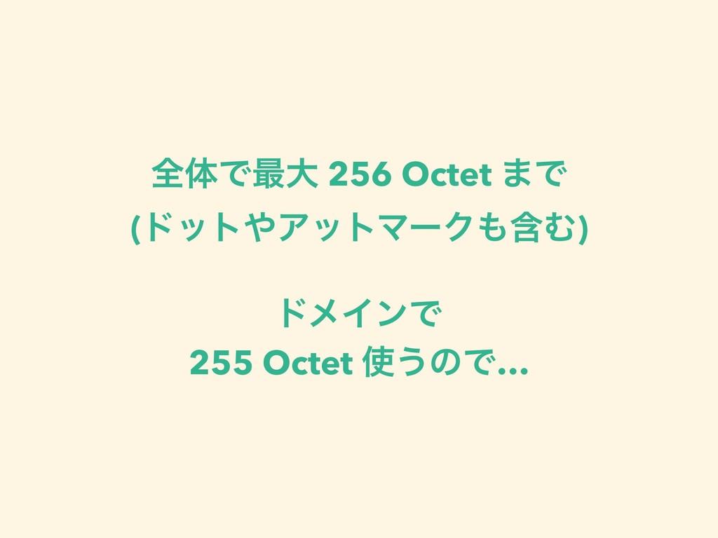 શମͰ࠷େ 256 Octet ·Ͱ (υοτΞοτϚʔΫؚΉ) υϝΠϯͰ 255 Oc...