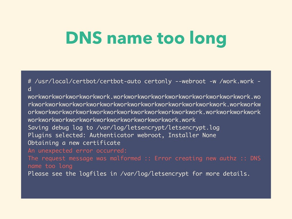 DNS name too long # /usr/local/certbot/certbot-...
