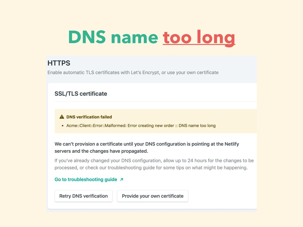 DNS name too long