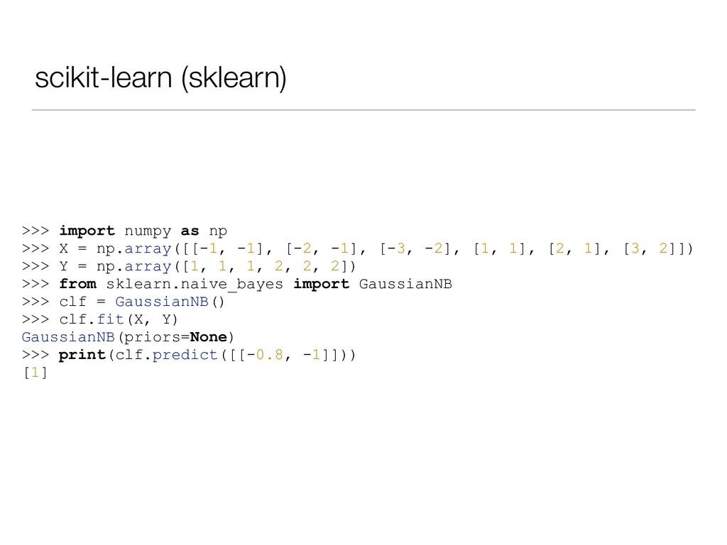 scikit-learn (sklearn) >>> import numpy as np >...