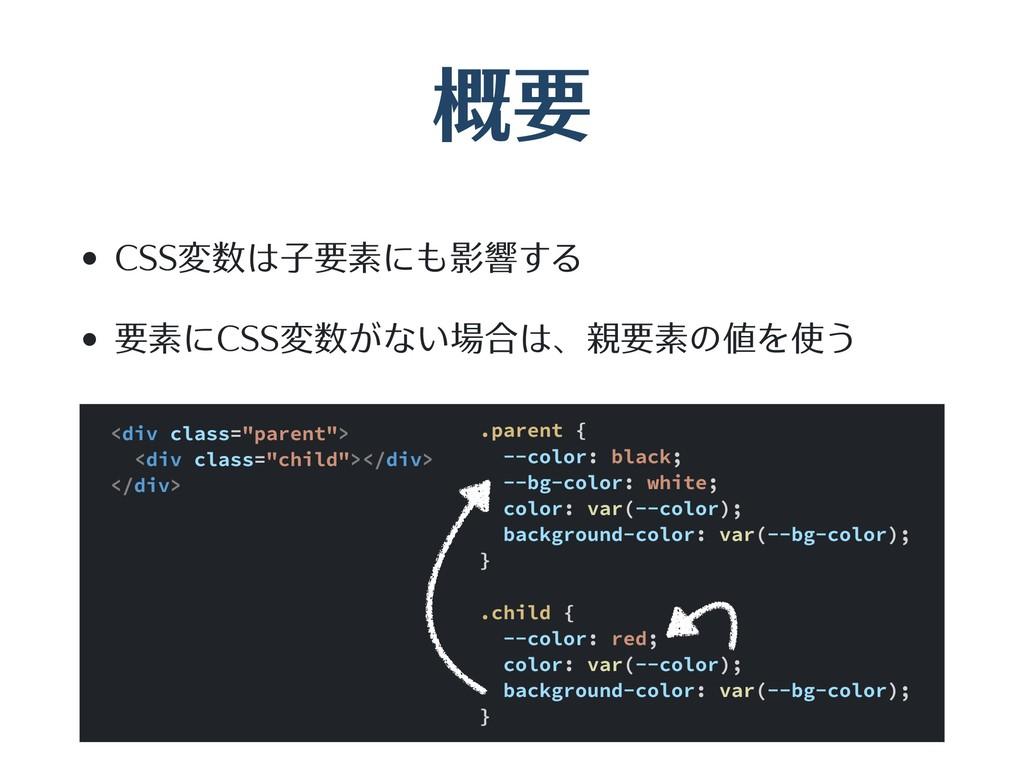 概要 • CSS変数は⼦要素にも影響する • 要素にCSS変数がない場合は、親要素の値を使う ...