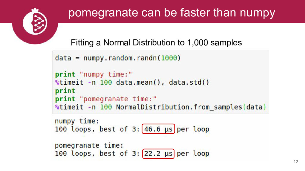 12 pomegranate can be faster than numpy Fitting...