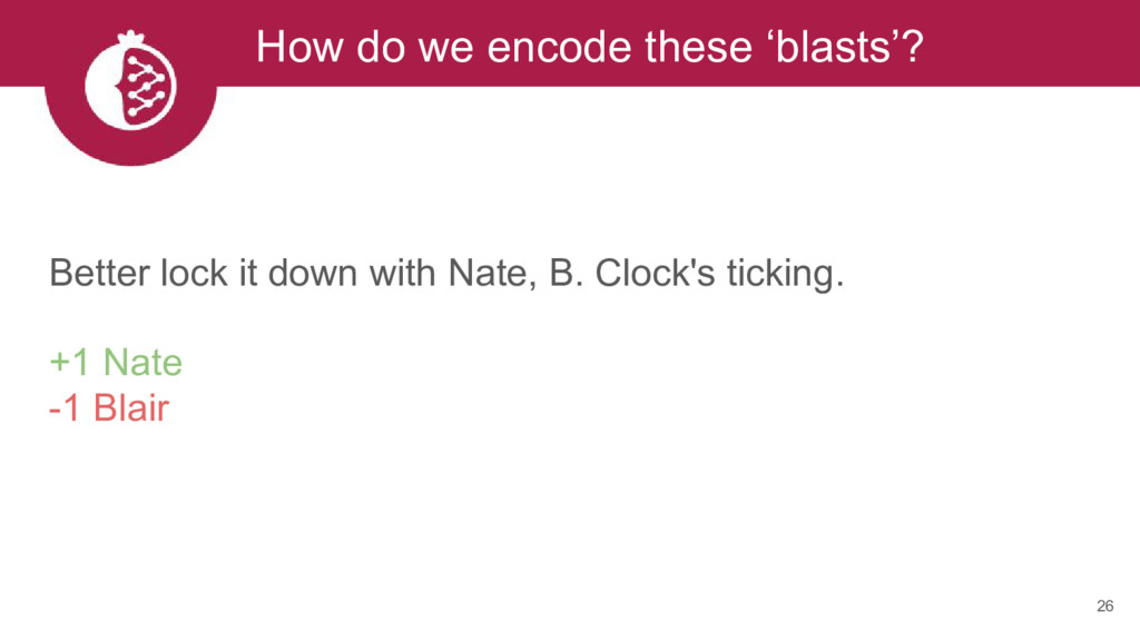 26 How do we encode these 'blasts'? Better lock...